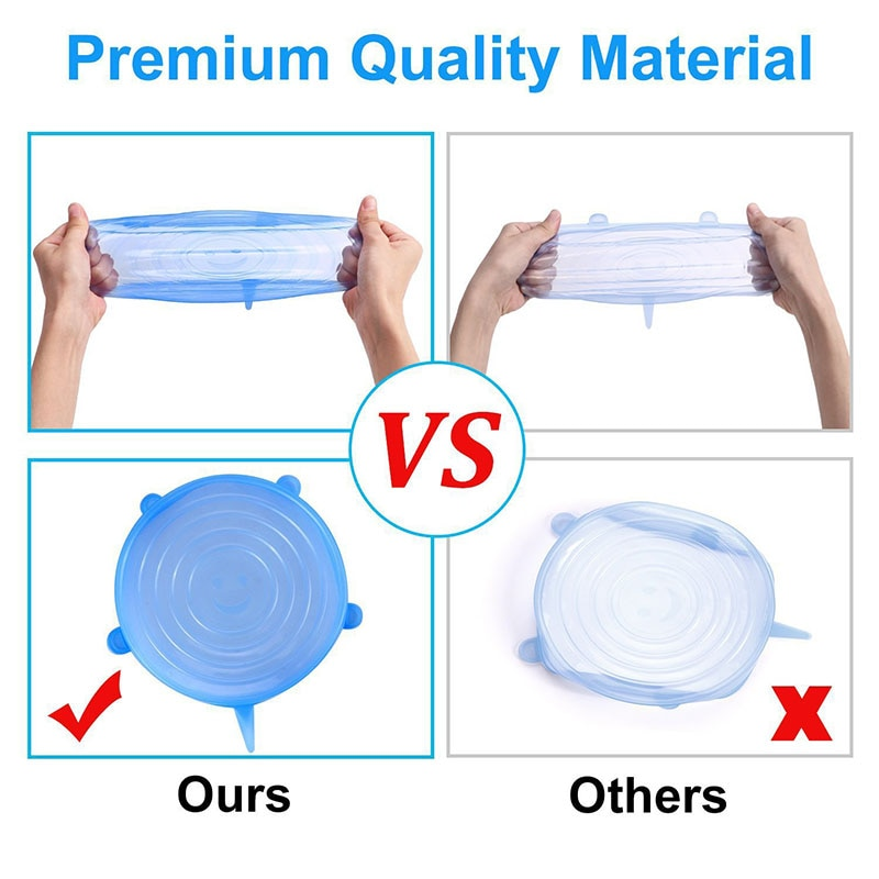 Silicone Stretch Lids For Food or Drinks 6 Pcs/ Set