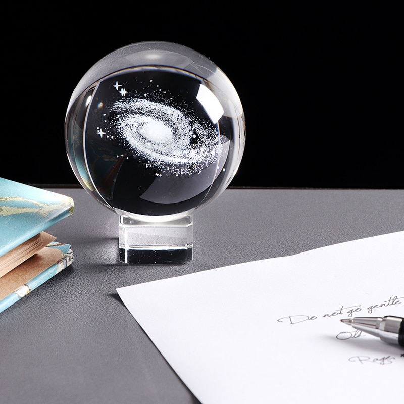 3D Laser Engraved Galaxy Crystal Ball