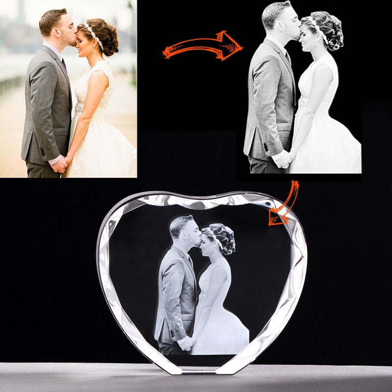 Photo Custom Heart Shape Photo Frame Laser Engraved Pictures Personalized Photo Album Souvenir Gift Wedding Gift Valentine's Day