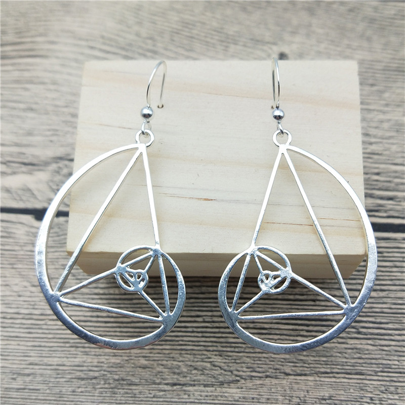 Spiral Fibonacci Golden Triangle Dangle Earrings